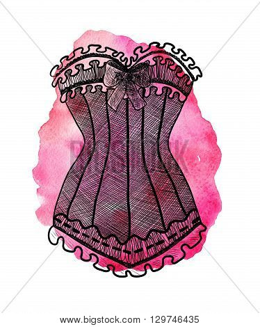 Corset on watercolor pink background. Hand-drawn fashion illustration