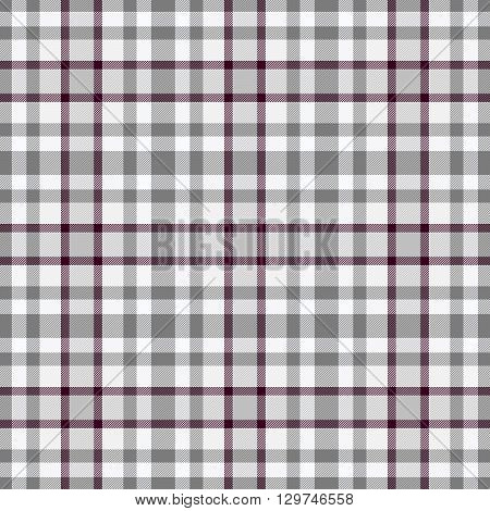 Traditional trendy Scottish grey tartan pattern with claret stripe made seamless for kilt or bandana