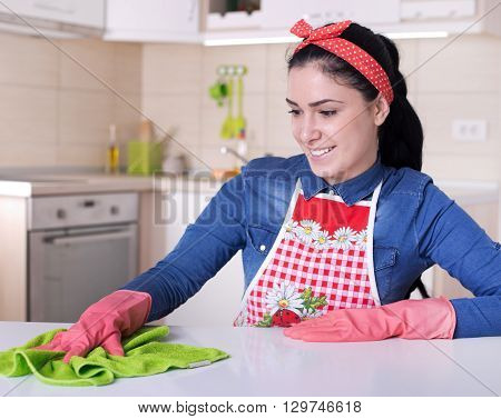 Woman Cleaning Kitchen Furniture
