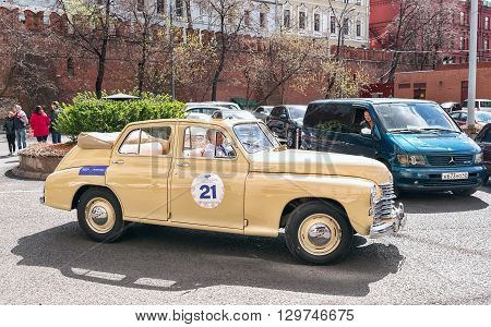 Moscow Russia - April 24 2016: Retro cars rally named after Ingosstrakh Exclusive Classic Day. GAZ M20B (Pobeda) car.