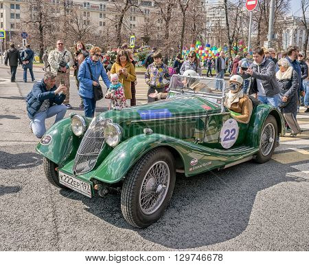 Moscow Russia - April 24 2016: Retro cars rally named after Ingosstrakh Exclusive Classic Day. Riley Sprite car 1936.