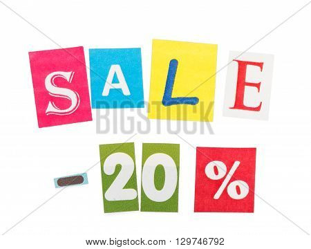 Inscription Sale - 20  made of colorful letters isolated on white background.