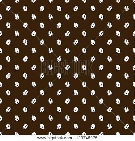 Seamless texture of grains of coffee on a dark brown background. Vector illustration.