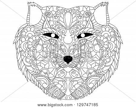 Wolf coloring book for adults vector illustration. Anti-stress coloring for adult. Zentangle style. Black and white lines. Lace pattern