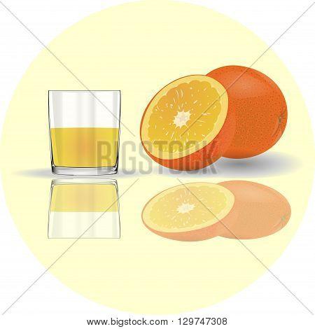 Orange juice . Glass with fresh juice . reflection