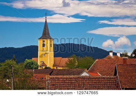 Village of Miholec church tower and Kalnik mountain view Prigorje Croatia
