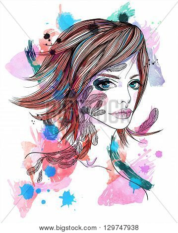 Portrait of a girl with a tattoo. The girl-bird on abstract textured background. Fashion illustration. Print for T-shirt