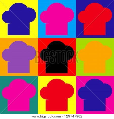 Chef cap sign. Pop-art style colorful icons set.