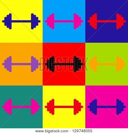 Dumbbell weights sign. Pop-art style colorful icons set.