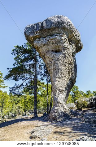Image of Unique rock formations in enchanted city of Cuenca Castilla la Mancha Spain