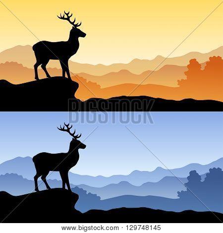 Deer silhouette landscape nature sunset sunrise illustration vector