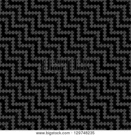 Vector seamless pattern. Modern stylish texture. Regularly repeating geometric tiles with small dots diagonal dotted zigzags waves. Abstract seamless background. Contemporary design