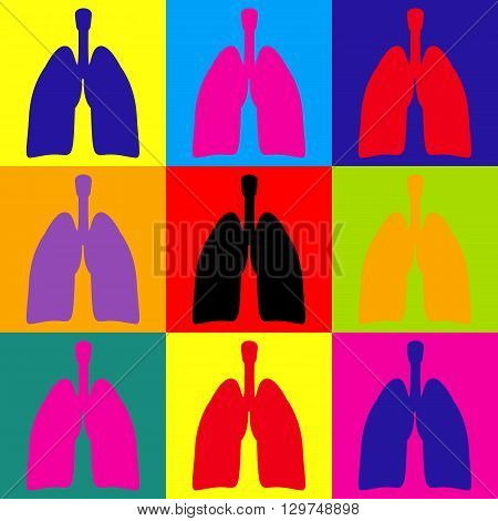 Human organs. Lungs sign. Pop-art style colorful icons set.