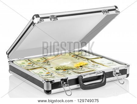 Open case with dollars and drugs isolated on white background.