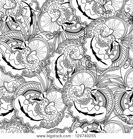 Uncolored seamless hand drawn pattern. Coloring book page for adults. Doodles with vintage flowers pattern. Zendala. Zentagle.