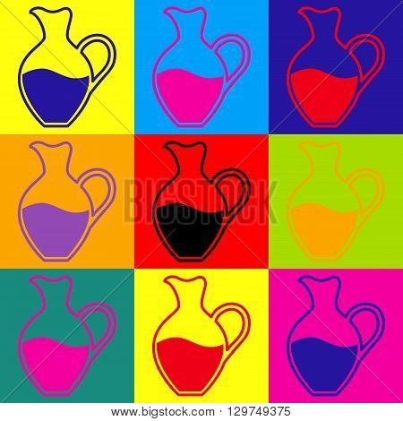 Amphora sign. Pop-art style colorful icons set.