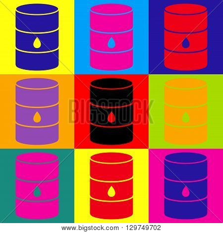 Oil barrel sign. Pop-art style colorful icons set.