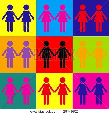 Lesbian family sign. Pop-art style colorful icons set.