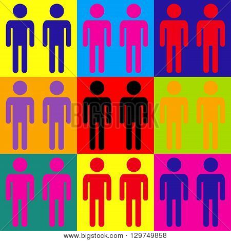 Gay family sign. Pop-art style colorful icons set.