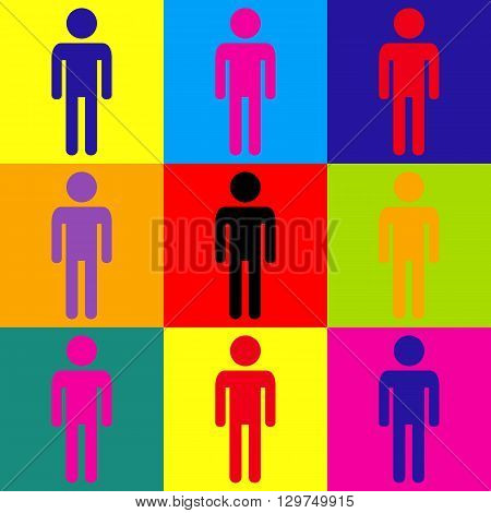 Man sign. Pop-art style colorful icons set.