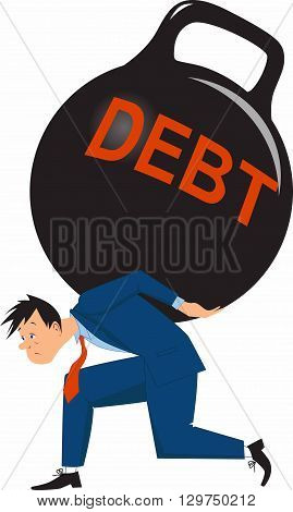 Man carrying a heavy debt, EPS8 vector illustration