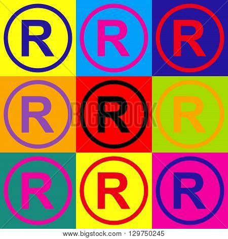 Registered Trademark sign. Pop-art style colorful icons set.