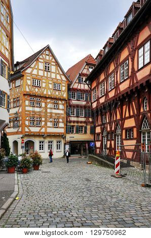 ESSLINGEN, GERMANY - APRIL 21, 2014: The old narrow street with half-timbered houses. Essligen, Baden-Wurttemberg, Germany.