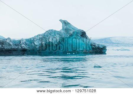 Horse head shape glacier. Floating iceberg with unique shape at Jokulsarlon lagoon in Iceland.