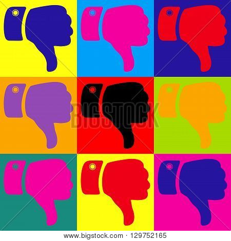 Hand sign. Pop-art style colorful icons set.