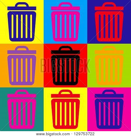 Trash sign. Pop-art style colorful icons set.