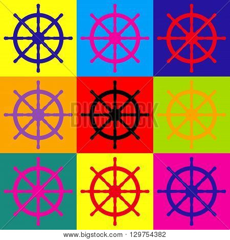 Ship wheel sign. Pop-art style colorful icons set.