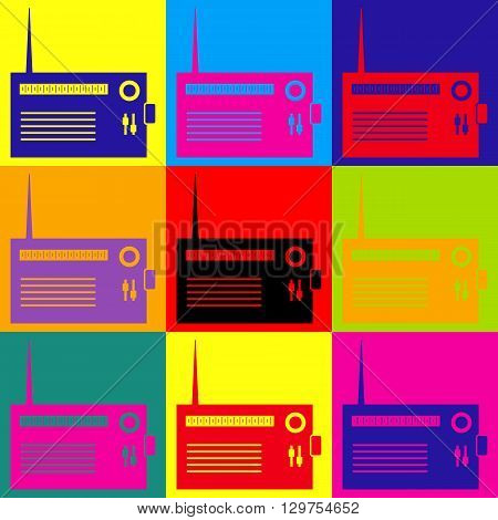 Radio sign. Pop-art style colorful icons set.