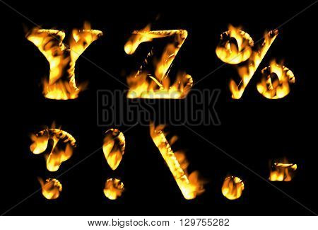 Fire text collection. Alphabet of flame, Fire text collection. Alphabet of flame