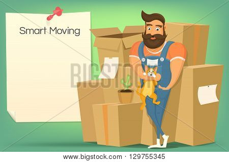 Brutal handsome bearded mover man with cat. Smart moving concept