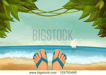Exotic panorama landscape with male feet in slippers. Vector illustration