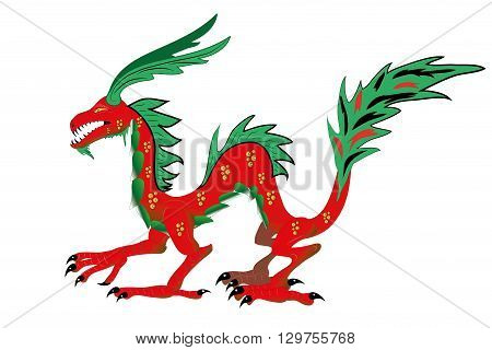 Red with green the Chinese dragon. Illustration.