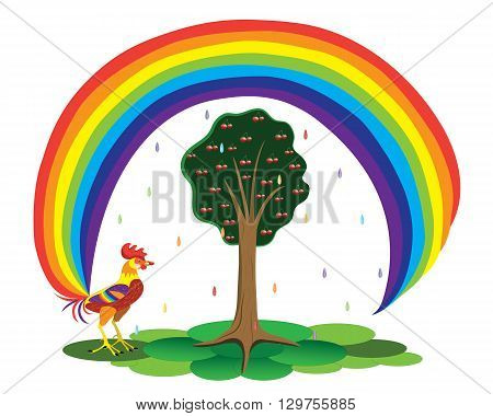 The rooster a rainbow eats cherries from a fantastic tree with a tail