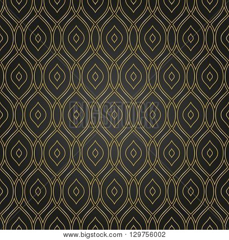 Seamless vector golden pattern. Modern geometric pattern with repeating wavy lines