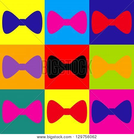 Bow Tie icon. Pop-art style colorful icons set.