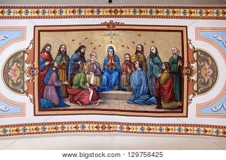 STITAR, CROATIA - AUGUST 27: Pentecost, the descent of the Holy Spirit, fresco in the church of Saint Matthew in Stitar, Croatia on August 27, 2015