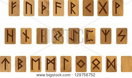 Alphabet with wooden ancient Old Norse runes Futhark Set of  scandinavian and germanic letters isolated on white