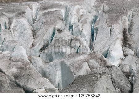 Rhone Glacier in the European Alps. Europe
