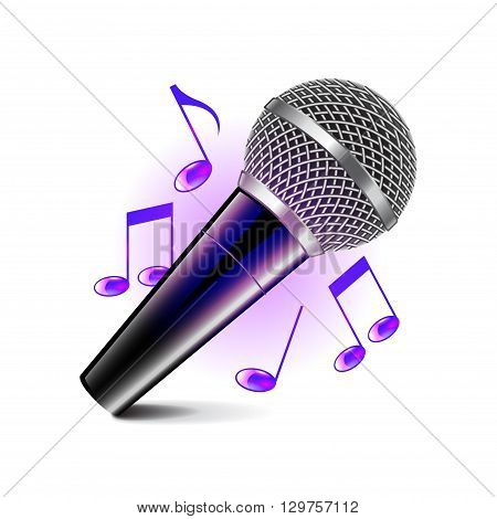 Karaoke icon isolated on white photo-realistic vector illustration