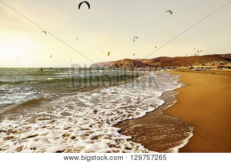 Panorama landscape of surfing beach on Rhodes