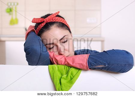 Cleaning Lady Sleeping