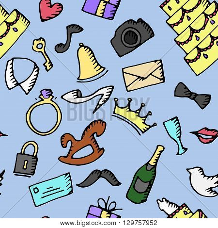 Wedding background pattern. Hand drawn vector stock illustration