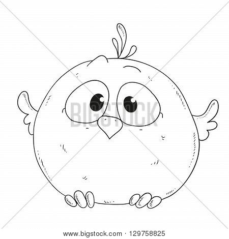 Cartoon cute sparrow. Character for coloring book vector
