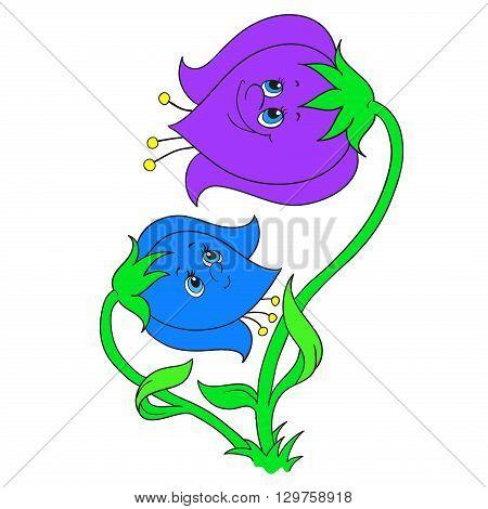 Cartoon character bells. Flowers bells. Vector illustration