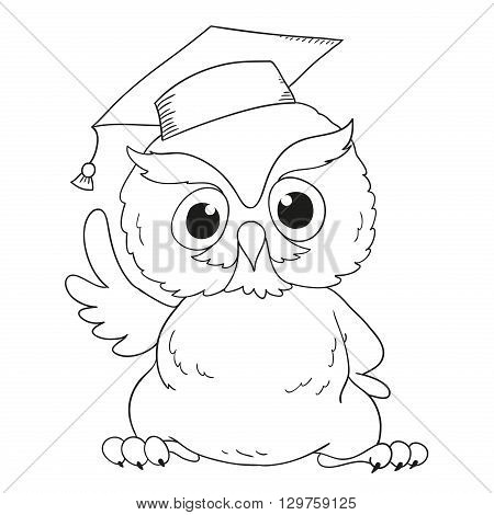 Cartoon character graduation owl. For coloring book