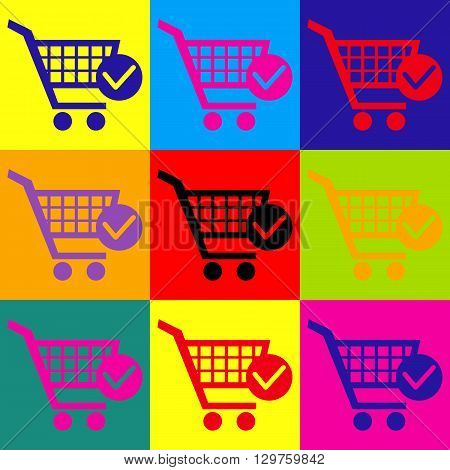 Shopping Cart and Check Mark Icon. Pop-art style colorful icons set.
